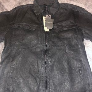 Transit Mens Grey Leather Shirt Jacket Size XL